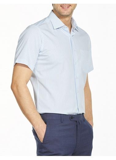 Bisse GM19Y91172 Regular Fit Çizgili Kısa Kollu Gömlek Mavi